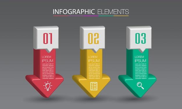 Moderne pijl 3d-tekstvak sjabloon, banner infographics
