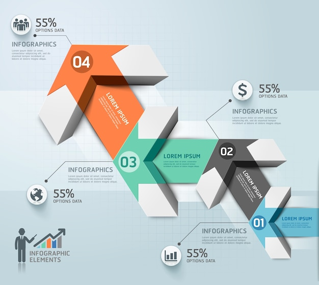 Moderne pijl infographics sjabloon.