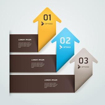 Moderne pijl origami stijl stap omhoog nummer opties sjabloon. werkstroom layout, diagram, webdesign, infographics.