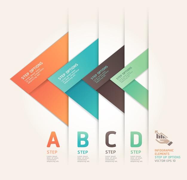 Moderne pijl-origami-stijl verhoogt de opties. werkstroom lay-out, diagram, aantal opties, webdesign, infographics.