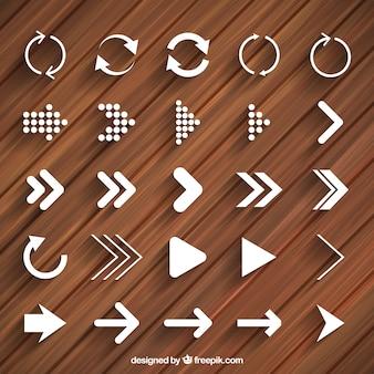 Moderne pijlen en reload pictogrammen