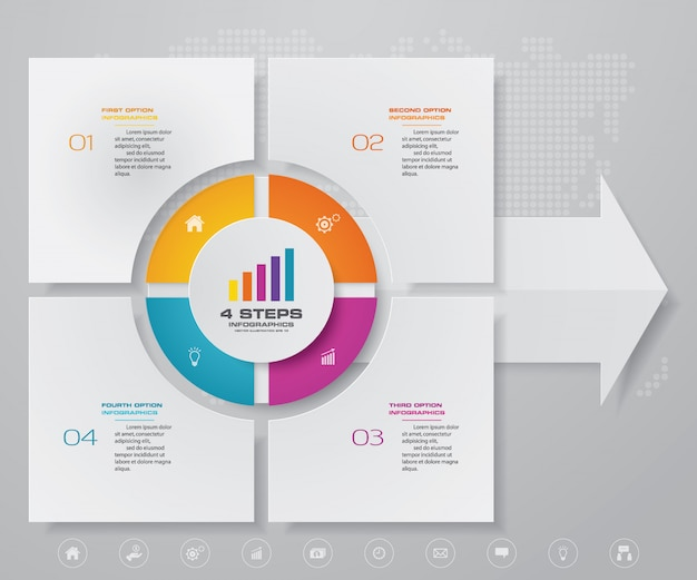Moderne pijlgrafiek infographic voor gegevenspresentatie
