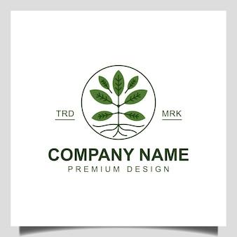Moderne plantenwortel van het logo-ontwerp van het boomleven. tuin boom lente natuurlijke bomen groei pictogram vector sjabloon