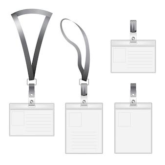 Moderne plat pictogrammen set met vier id-houder van verschillende groottes