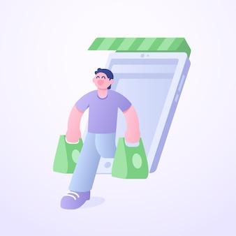 Moderne platte 3d-stijl karakter klaar met online winkelen concept illustratie
