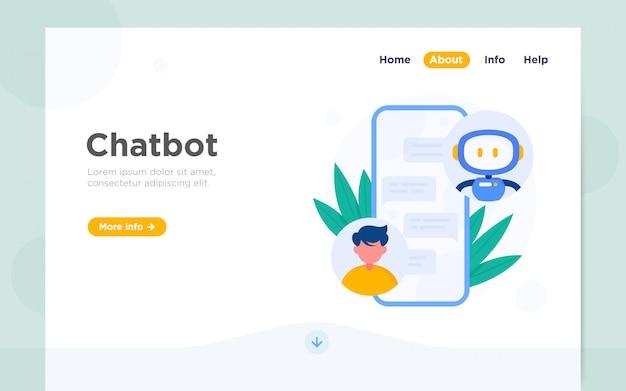 Moderne platte bestemmingspagina van chatbot