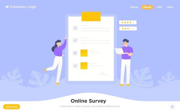 Moderne platte bestemmingspagina van online enquête