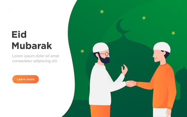 Moderne platte eid mubarak-bestemmingspagina
