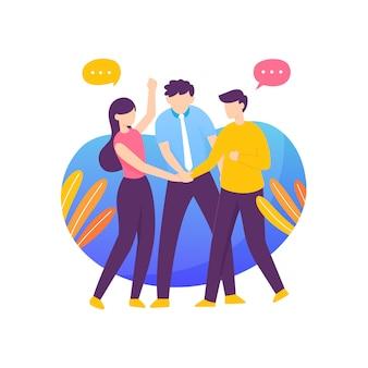 Moderne platte handdruk team illustratie