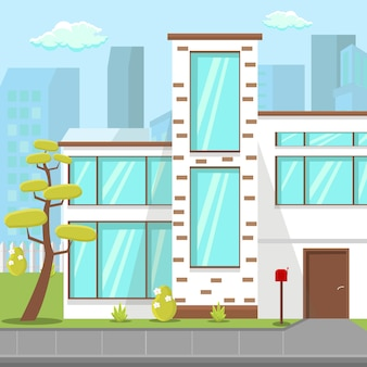 Moderne platte huis platte vectorillustratie