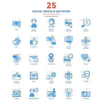 Moderne platte lijn kleur pictogrammen sociale media en netwerk