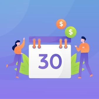 Moderne platte maandelijkse salaris cyclus illustratie banner