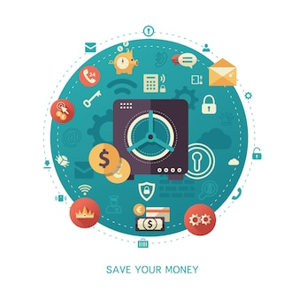 Moderne platte ontwerp geldbesparingen zaken en financiën