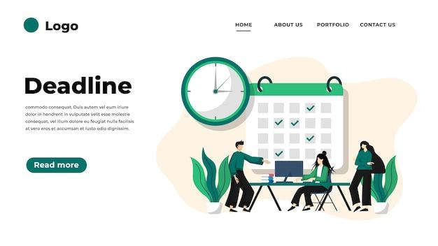 Moderne platte ontwerp illustratie van deadline.