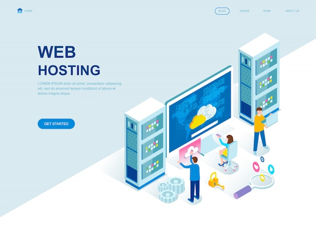 Moderne platte ontwerp isometrische bestemmingspagina van web hosting