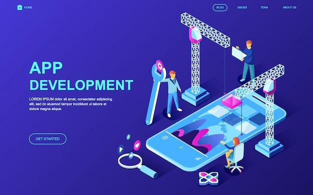 Moderne platte ontwerp isometrische concept van app-ontwikkeling