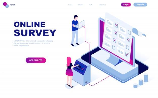 Moderne platte ontwerp isometrische concept van online-enquête