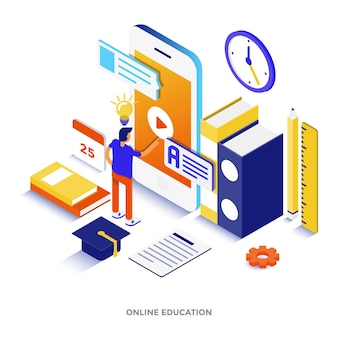 Moderne platte ontwerp isometrische illustratie van online onderwijs. kan worden gebruikt voor website en mobiele website of bestemmingspagina. gemakkelijk te bewerken en aan te passen. vector illustratie