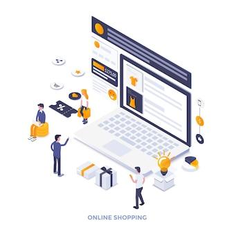 Moderne platte ontwerp isometrische illustratie van online winkelen. kan worden gebruikt voor website en mobiele website of bestemmingspagina. gemakkelijk te bewerken en aan te passen. vector illustratie Premium Vector