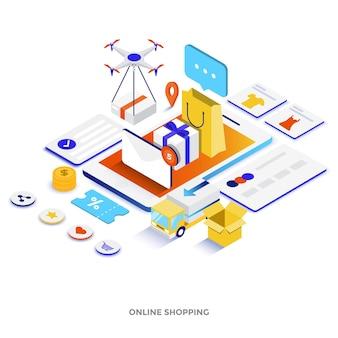 Moderne platte ontwerp isometrische illustratie van online winkelen. kan worden gebruikt voor website en mobiele website of bestemmingspagina. gemakkelijk te bewerken en aan te passen. vector illustratie
