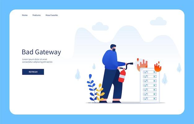 Moderne platte ontwerpconcept man blussen van brand op de server met behulp van brandblusser slechte gateway voor website en mobiele site lege staten