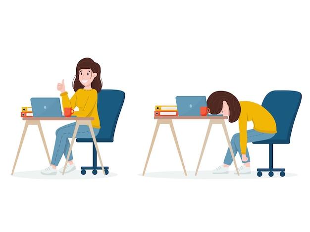 Moderne platte ontwerpillustratie op vermoeide bezorgde vrouw die hard werkt en kalme dame die aan het werk is