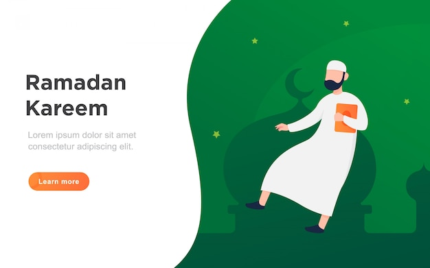 Moderne platte ramadan landing pagina illustratie