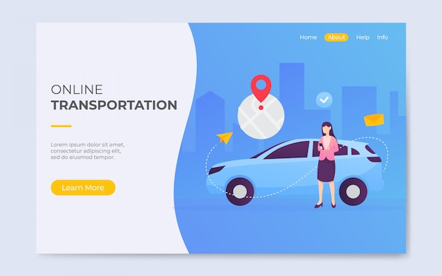 Moderne platte stijl online taxi vervoer landingspagina illustratie