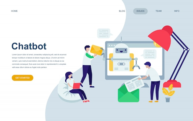Moderne platte webpagina ontwerpsjabloon van chat bot