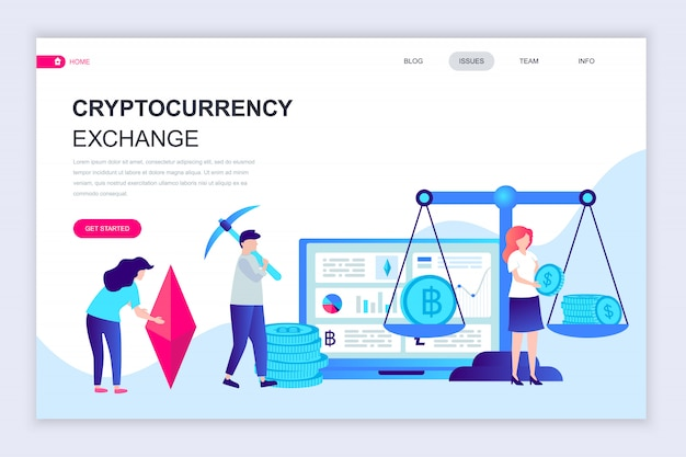 Moderne platte webpagina ontwerpsjabloon van cryptocurrency exchange
