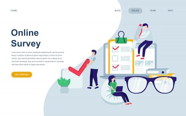 Moderne platte webpagina ontwerpsjabloon van online survey