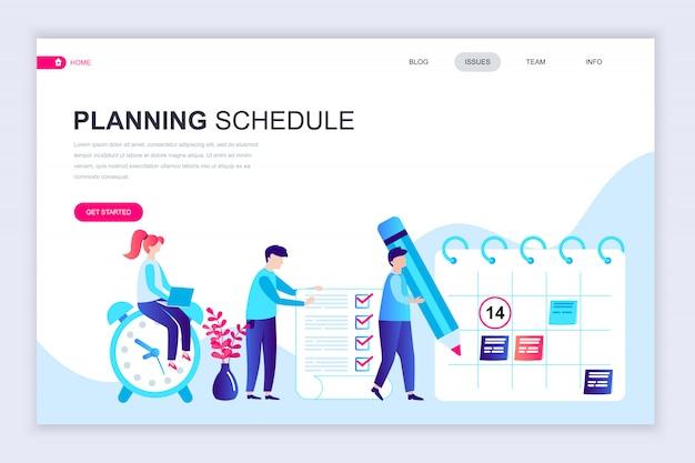 Moderne platte webpagina ontwerpsjabloon van planning