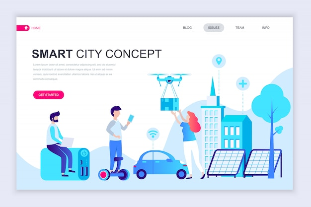 Moderne platte webpagina ontwerpsjabloon van smart city