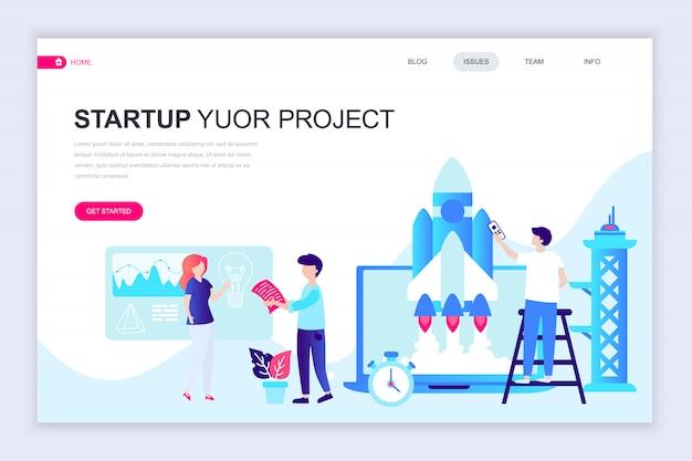 Moderne platte webpagina ontwerpsjabloon van startup project