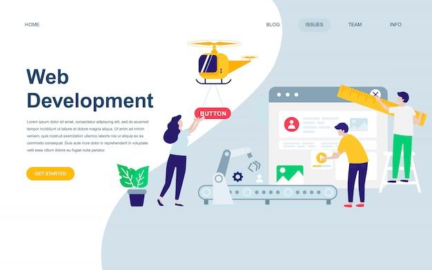 Moderne platte webpagina ontwerpsjabloon van web development