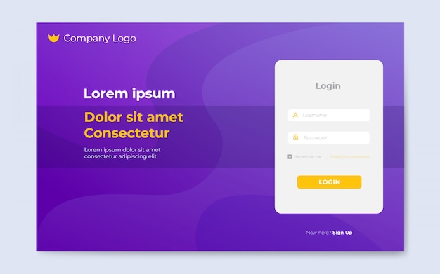 Moderne platte website login paginasjablonen