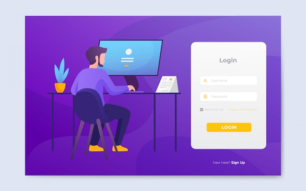 Moderne platte website login paginasjabloon