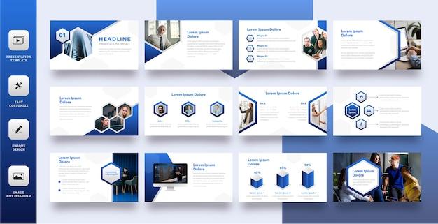 Moderne polygoon zakelijke dia presentatiesjabloon