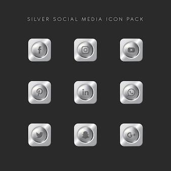 Moderne populaire social media icon pack zilveren versie