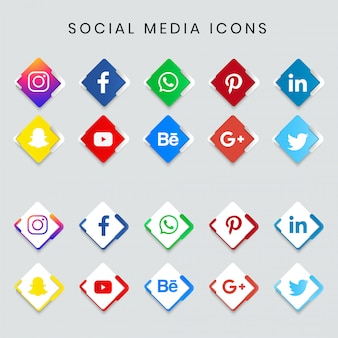Moderne populaire sociale media icon set