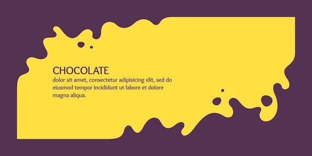 Moderne poster dynamische spatten en druppels chocolade vectorillustratie in een vlakke stijl