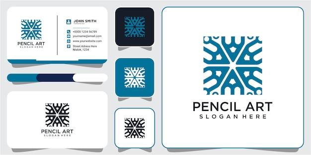 Moderne potloodgemeenschap rechthoek logo-ontwerpinspiratie met visitekaartjeontwerp