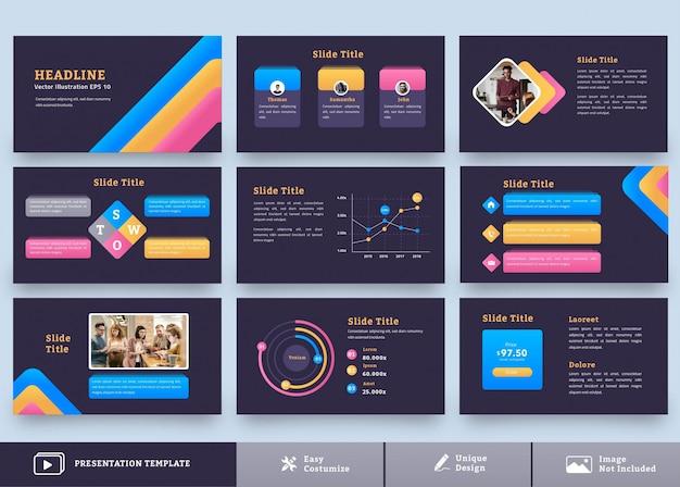 Moderne presentatie ontwerpsjabloon met veelkleurige combinatie 9 pagina's