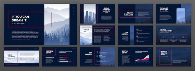 Moderne presentatiesjablonen ingesteld voor het bedrijfsleven