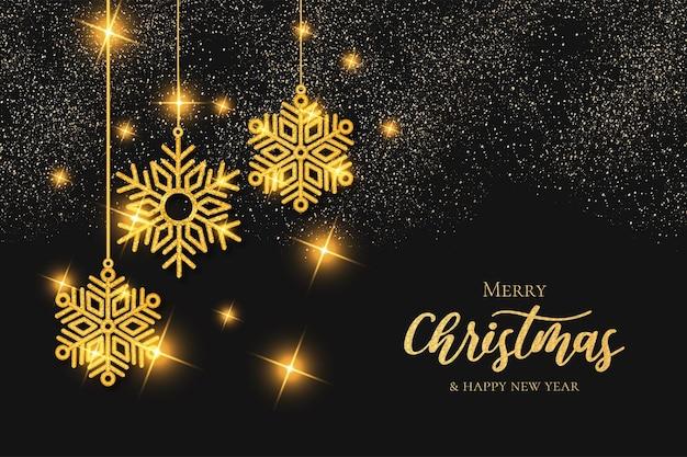 Moderne prettige kerstdagen en gelukkig nieuwjaar achtergrond met gouden sneeuwvlokken