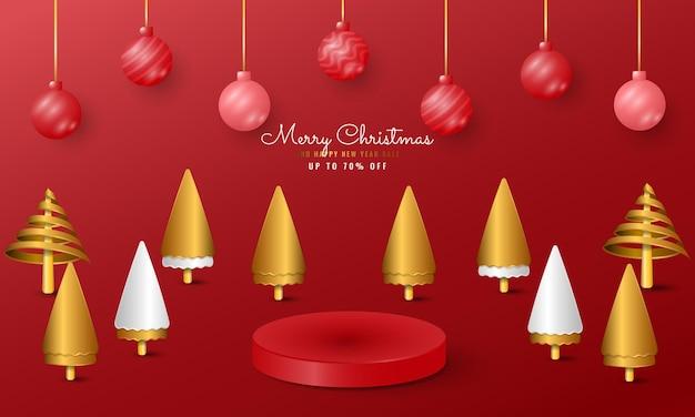 Moderne prettige kerstdagen en gelukkig nieuwjaar banner met podium product display, bal en gouden boom
