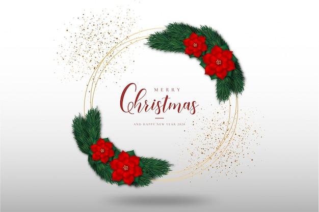 Moderne prettige kerstdagen en gelukkig nieuwjaar wenskaart met gouden frame