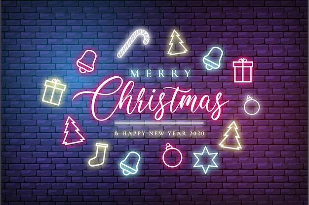 Moderne prettige kerstdagen en gelukkig nieuwjaar wenskaart met neonlichten