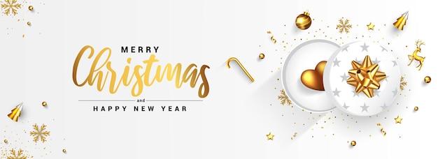 Moderne prettige kerstdagen en gelukkig nieuwjaar wenskaart ontwerp, winter design met gouden ornamenten en geschenkdozen op witte achtergrond.