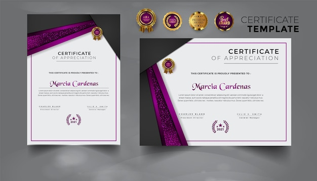 Moderne professionele set certificaatsjabloon